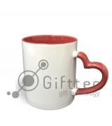 Кружка для влюбленных цветная внутри + ручка в виде сердца КРАСНАЯ для сублимации