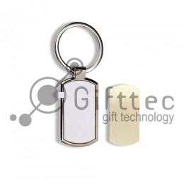 Брелок для ключей металлический выпуклый прямоугольник (009C) для сублимации