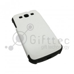 Samsung Galaxy S3 - Белый чехол глянцевый пластиковый с силконовым бампером (для 3D - сублимации)