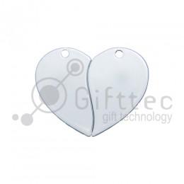 Брелок для ключей металический Сердце двойной БЕЛЫЙ упаковка 10шт для сублимации
