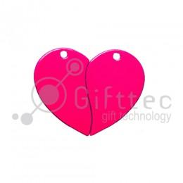 Брелок для ключей металический Сердце двойной РОЗОВЫЙ упаковка 10шт для сублимации