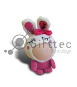 3D Игрушка Заяц РОЗОВЫЙ (размер 8-10 см) запечатка 5х5см / 2-PD1