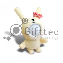 3D Игрушка Заяц с бантом (размер 8-10 см) запечатка 5х5см / 2-PD55