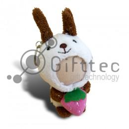 3D Игрушка Кролик с клубничкой в руках БЕЛЫЙ (размер 8-10 см) запечатка 5х5см / 2-PD16
