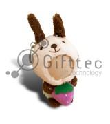 3D Игрушка Кролик с клубничкой в руках БЕЖЕВЫЙ (размер 8-10 см) запечатка 5х5см / 2-PD18