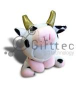 3D Игрушка Корова золотые рога (размер 14 см) запечатка 5х5см / 2-PD67