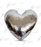 Наволочка в виде сердца 40х40см СЕРЕБРЯННАЯ С ПАЙЕТКАМИ