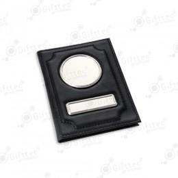 Обложка для автодокументов кожа глянец ЧЕРНАЯ (черная нить)