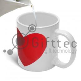 Кружка белая с КРАСНЫМ сердцем-хамелеон для сублимации