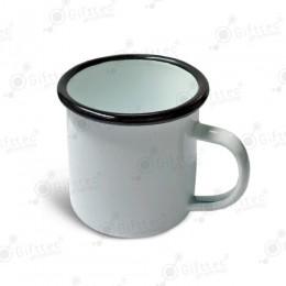 Кружка металлическая эмалированная белая с черной каемкой, 360мл для сублимации