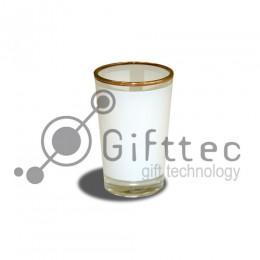 Рюмка стеклянная (золотая каёмка) низкая h=6.2см, 90мл для сублимации