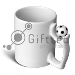 Кружка белая с футбольным мячом, 330мл для сублимации