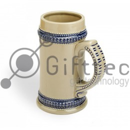 Кружка пивная керамическая с голубой каёмкой для сублимации