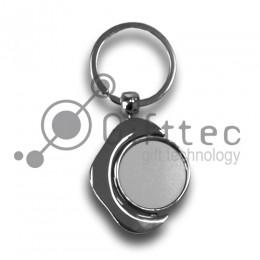 Брелок для ключей металлический КРУГЛЫЙ вращающийся для сублимации