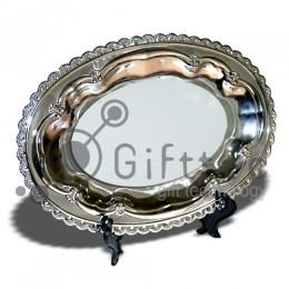 Тарелка металлическая овальная 24.5х17см (вставка под сублимацию)