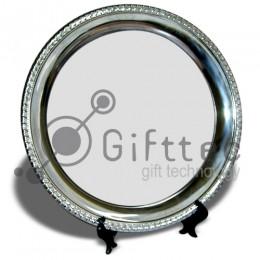 Тарелка металлическая круглая d=25см (вставка под сублимацию)