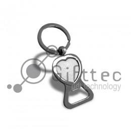 Брелок для ключей металлический Сердце с открывалкой (062) для сублимации
