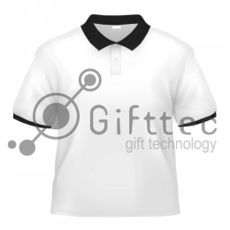 Рубашка-поло белая Classic с чёрными вязаными манжетами и воротником, синтетика/хлопок (сэндвич) р.44 (S)