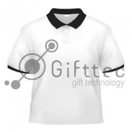 Рубашка-поло белая Classic с чёрными вязаными манжетами и воротником, синтетика/хлопок (сэндвич) р.50 (XL)