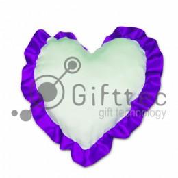 Подушка с наволочкой в виде сердца 38х38см ФИОЛЕТОВЫЙ кант для сублимации