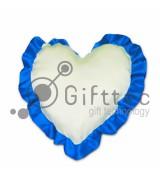 Подушка с наволочкой в виде сердца 38х38см СИНИЙ кант для сублимации