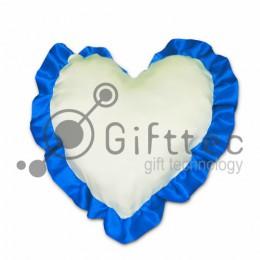 Подушка с наволочкой в виде сердца 38х38см СИНИЙ кант