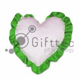 Подушка с наволочкой в виде сердца 38х38см ЗЕЛЁНЫЙ кант для сублимации
