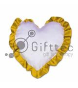 Подушка с наволочкой в виде сердца 38х38см ЗОЛОТОЙ кант для сублимации