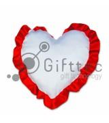 Подушка с наволочкой в виде сердца 38х38см КРАСНЫЙ кант
