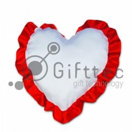 Подушка с наволочкой в виде сердца 38х38см КРАСНЫЙ кант для сублимации