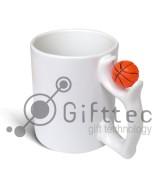Кружка белая с баскетбольным мячом, 330мл для сублимации