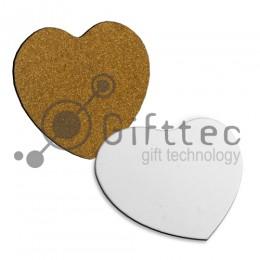 Костер деревянный в форме сердца 95х95х3мм (с пробковой основой) для сублимации