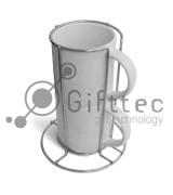 Кружки кофейные белые d=7см, 2шт в металлической подставке