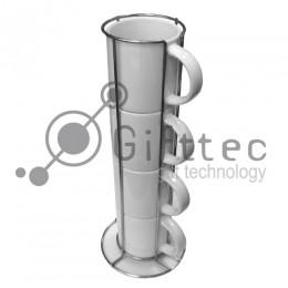 Кружки кофейные белые d=7см, 4шт в металлической подставке