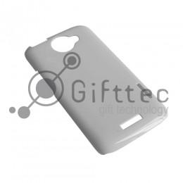 HTC One X/One Х+ - Белый чехол глянцевый пластик (для 3D - сублимации)