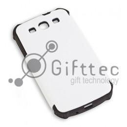 Samsung Galaxy S3 i9300 - Белый пр/ударный чехол матовый пластик с ЧЕРНЫМ силикон.бампером (для 3D - сублимации)