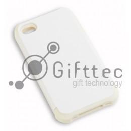 IPhone 4/4S - Белый пр/ударный чехол глянцевый пластик с БЕЛЫМ силикон.бампером (для 3D - сублимации)