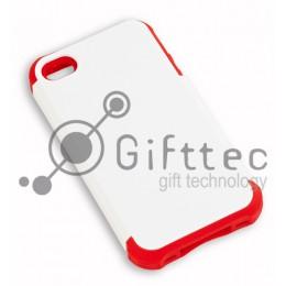 IPhone 4/4S - Белый пр/ударный чехол глянцевый пластик с КРАСНЫМ силикон.бампером (для 3D - сублимации)