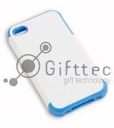IPhone 4/4S - Белый пр/ударный чехол глянцевый пластик с СИНИМ силикон.бампером (для 3D - сублимации)