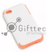 IPhone 4/4S - Белый пр/ударный чехол глянцевый пластик с РОЗОВЫМ силикон.бампером (для 3D - сублимации)