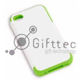 IPhone 4/4S - Белый пр/ударный чехол глянцевый пластик с ЗЕЛЁНЫМ силикон.бампером (для 3D - сублимации)