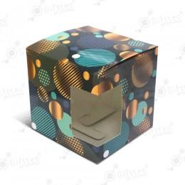 """Коробка подарочная для кружки с окном """"Синие шары"""""""