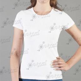 Футболка женская белая (круглое горло) Comfort (FutbiTex), синтетика/хлопок (имитация хлопка) р.40 (3XS) для сублимации