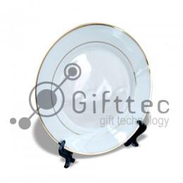 Тарелка каёмка с золотыми полосками d=20см для сублимации