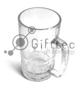 Кружка пивная стеклянная глянцевая d=8.6см, h=15.7см, 500мл для сублимации