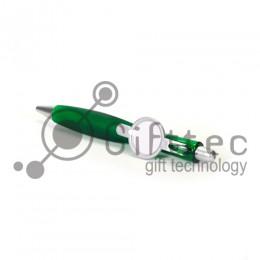 Ручка шариковая пластиковая ЗЕЛЁНАЯ со вставкой под сублимацию