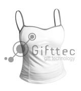 Майка женская СЕРЫЕ лямки, синтетика/хлопок (джерси), р.XS для сублимации