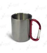 Кружка металлическая СЕРЕБРО малая h=8см, d=7см, с красным карабином, 210мл для сублимации